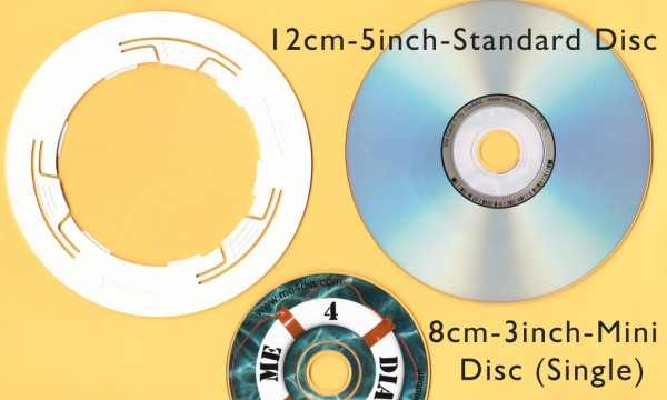 mini CD adapter 8cm to standard disc - comparison of formats